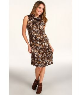 Anne Klein Petite Snakeskin Print Sleeveless Dress Womens Dress (Animal Print)