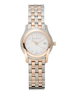 Two Tone Round Stainless Steel Watch   Rose Gold