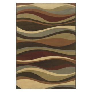 Contemporary Waves Area Rug   Brown (53x76)