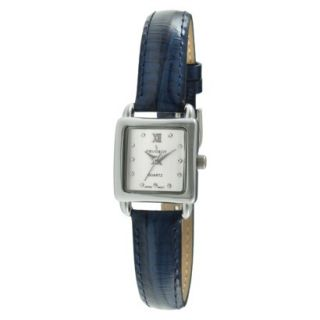 Womens Peugeot Mini Square Crystal Marker Leather Strap Watch   Silver/Blue
