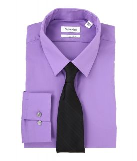 Calvin Klein Extreme Slim Fit Solid Dress Shirt Mens Long Sleeve Button Up (Purple)