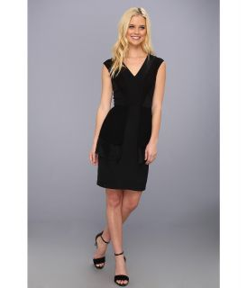 Nicole Miller Rae Tiered V Neck Dress Womens Dress (Black)