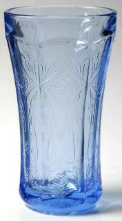 Indiana Glass Recollection Blue Candleholder   Blue,Pressed,Scroll Design