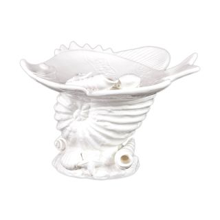 Urban Trends Collection White Ceramic Seashell Platter (10.83 inches long x 8.94 inches wide x 6.97 inches highModel 40016For decorative purposes only CeramicSize 10.83 inches long x 8.94 inches wide x 6.97 inches highModel 40016For decorative purposes
