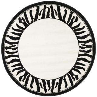 Lyndhurst Collection Zebra Border Black/ White Rug (5 3 Round)