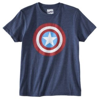 Captain America Shield Mens Graphic Tee   Academy Blue XXL