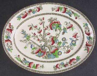Johnson Brothers Indian Tree (Green Key, Cream) 12 Oval Serving Platter, Fine C