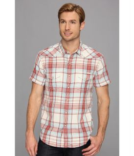 Lucky Brand Classic S/S Western Mens Short Sleeve Button Up (Red)