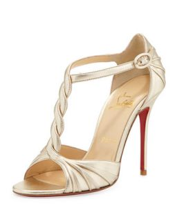 Jazzy Doll Braided Metallic Red Sole Sandal, Gold   Christian Louboutin