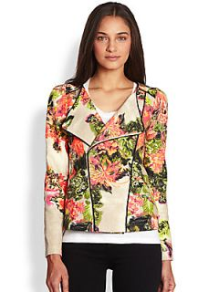 Line & Dot Printed Woven Cotton Moto Jacket   Botanical Garden
