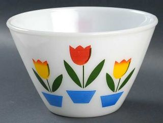 Anchor Hocking Tulips On White Splash Proof  6 Mixing Bowl   Fire King, White,
