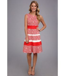 Anne Klein Printed Cotton Banded Swing Dress Womens Dress (Pink)