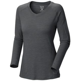 Mountain Hardwear Integral T Shirt   UPF 25  V Neck  Long Sleeve (For Women)   SEA LEVEL (M )