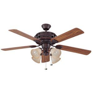 Ellington Fans ELF E GD52ABZ5C Grandeur 52 Ceiling Fan w/ 4 Tea stained Lights