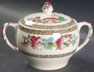 Johnson Brothers Indian Tree (Green Key, Cream) Sugar Bowl & Lid, Fine China Din