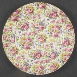 Royal Winton Summertime (Pre 1960,Cream Bck,Gold Tr) Luncheon Plate, Fine China