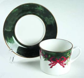 Royal Worcester Holly Ribbons Green Flat Cup & Saucer Set, Fine China Dinnerware