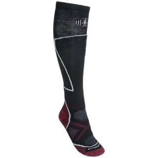 SmartWool PhD Ski Socks   Merino Wool (For Women)   MED GREY/POPPY (M )