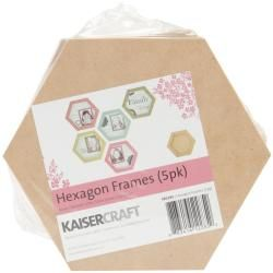 Beyond The Page Mdf Hexagon Frames 5/pkg  6 X6 X.75