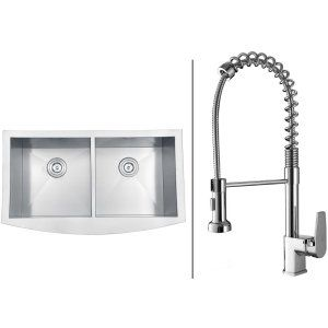 Ruvati RVC1461 Combo Stainless Steel Kitchen Sink and Chrome Faucet Set