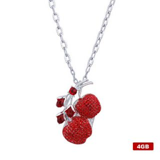 4GB Crystal Cherry Style USB Flash Drive Necklace (Red)