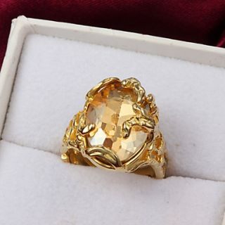 High Quality Gorgeous Gold Plated Clear Cubic Zirconia Oval Pierced Womens Ring