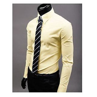 Uyuk Mens Yellow Stand Collar Long Sleeve Casual Style Shirt
