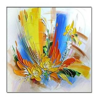 Hand Painted Modern Abstract Oil Painting with Stretched Frame Ready to Hang