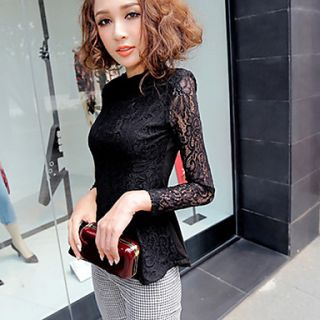 Womens Flouncing Slim Thin Lace Long Sleeve Shirts