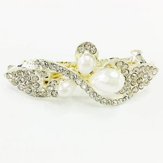 Fashion Wihte Pearl Bling Shinning Diamond Flower Bow knot for Women Hairpin Jewelry Accessories