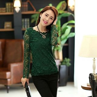 JFS Korea Sytle Womens Slim Fit Round COLlar Lace Long Sleeve Shirt