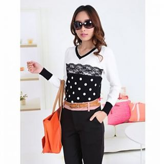 JFS Korea Sytle Womens Dots Floria Lace Long Sleeve Shirt