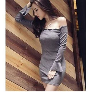 Womens Sexy Bateau Long Sleeve Slim Dress