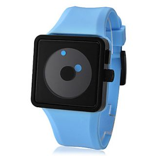 Unisex Quartz Two Dot Dial Silicone Band Wrist Watch (Blue)