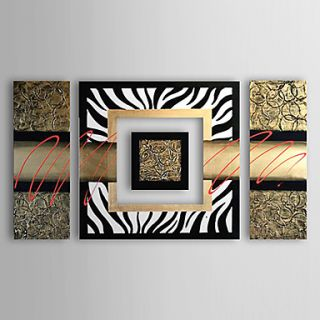Hand painted Modern Abstract Oil Painting Canvas Art with Stretched Frame   Set of 4