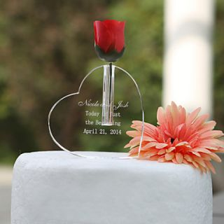 Personalized Heart Shaped Cake Topper/Crystal Keepsake
