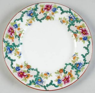 Royal Cauldon Floradora (Red Trim,Smooth) Luncheon Plate, Fine China Dinnerware