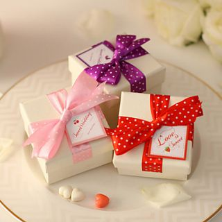 Polka Dot Bowknot Wedding Candy Box(More Colors) Set of 12