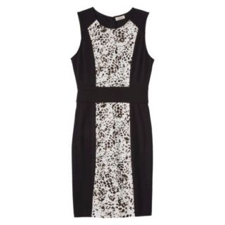 AMBAR Womens Ponte Leopard Print Dress   Ebony M
