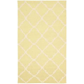 Safavieh Hand woven Moroccan Dhurrie Light Green/ Ivory Wool Rug (4 X 6)