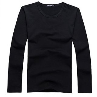 New Fashion O neck LycraCotton Muliti Colors Long Sleeve Solid Color Casual Mens T Shirt