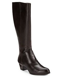 Leather Knee High Boots   Brown