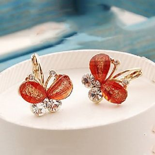 Shining Elegant Alloy Butterfly Shape Earrings (Coffee)
