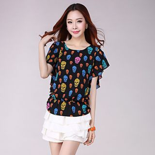 E Shop 2014 Summer Skull Print Bat Sleeve Loose Fit Chiffon Shirt (Black)