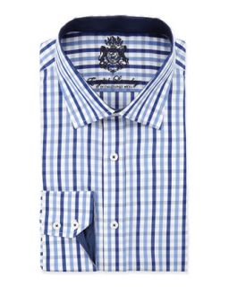 Classic Fit Large Check Dress Shirt, Blue