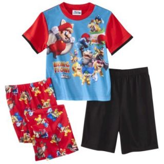 Super Mario Brothers Boys 3 Piece Short Sleeve Pajama Set   4 Red