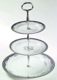 Gorham Golden Ribbon Edge 3 Tiered Serving Tray (DP, SP, BB), Fine China Dinnerw