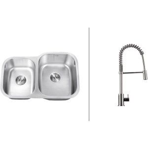 Ruvati RVC2511 Combo Stainless Steel Kitchen Sink and Chrome Faucet Set
