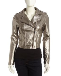 Faux Leather Metallic Moto Jacket, Gold