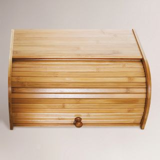 Bamboo Roll Top Bread Box   World Market